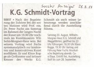 Soester Anzeiger 20140828 K. G. Schmidt-Vortrag