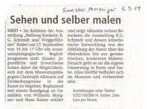 Soester Anzeiger 20140906 Sehen und selber malen