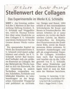 Soester Anzeiger 20140911 Stellenwert der Collagen