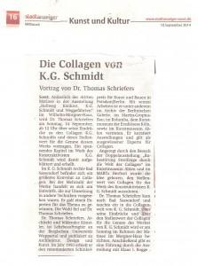 Stadt Anzeiger Soester 20140910 Die Collagen von K. G. Schmidt